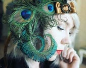 Bronze Nymph Peacock Feather Headband 1920s Flapper