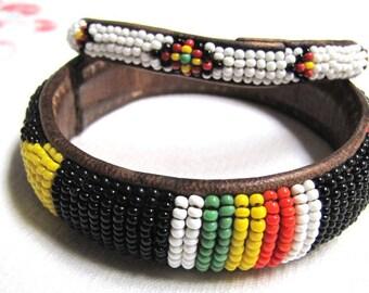 Vintage Seed beaded Bracelet, Leather and Seed bead Bracelet, handmade bracelet, seed beaded jewelry, beaded jewelry, boho jewelry, western