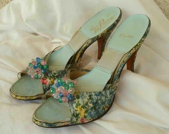 Vintage Fifties Blue Floral Springolater Pumps with Jeweled Accent / Mules by House of Pierre / Hand Crafted Size 9 Narrow