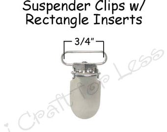 10 Metal 3/4 Inch Suspender Clips - w/ Rectangle Inserts - Lead Free - plus Pacifier Holder Instructions - SEE COUPON