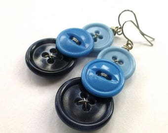 BUTTON JEWELRY SALE Ombre Blue Three Button Dangle Earrings
