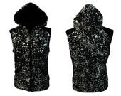 Silver paint splatter top sleeveless Hoodie sweatshirt zip up | cyberpunk slouchy sweatshirt