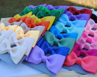 Etsy's Favorite - You Pick Colors - EIGHT PAIRS - Simple Bows - 16 Hairbows Set - Fits Infant Toddler and Big Girls - 3 Inch Tuxedo Bow Pair