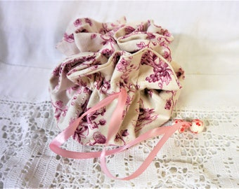 Jewelry Travel Pouch Bag - Toile de Jouy - Red & White - Handmade in France
