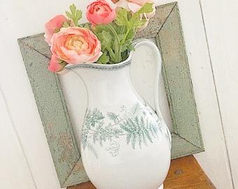 Farmhouse Style... Antique Vintage Ironstone Green Transferware Floral Greenery Pitcher Farmhouse Home Decor