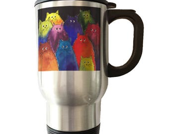 Very Colorful Two-Toned Silly Maine Coon Cats Stainless Steel Tumbler Cup Travel Mug Maine Coon Cat Lover Gift Cute Cat Mug Denise Every