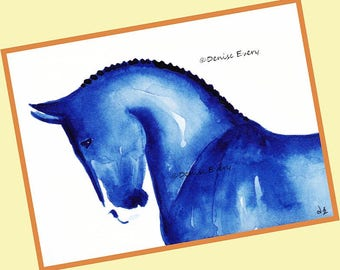 Warmblood Sports Horse in Blue Horse Art Print Equine Art Dressage Horse Gift Horse Lover Equestrian Home Decor Horse ACEO Art ACEO Horse