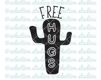 Cactus SVG, Free Hugs, Cactus silhouette, boys svg file, hipster trendy design SVG file for silhouette or cricut die cutting machine