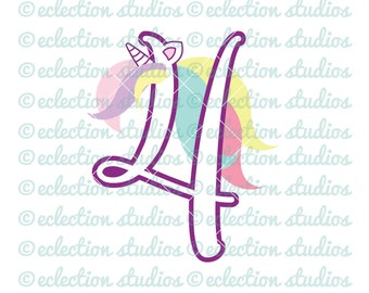 Unicorn SVG, Unicorn 4 Four, Fourth Birthday Unicorn number, commercial use SVG, DXF, eps, jpg, png file for silhouette/cricut machine