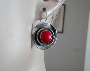 Coral Earrings, Jewellery Coral Earrings, Round Silver Earrings, Jewellery Gift Earrings, Earrings Jewelry Coral, Taurus Birthstone