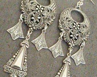Art Deco Silver Earrings 1920s Flapper Great Gatsby Bohemian Gypsy  Style Jewelry Chandelier Earrings By Red Gypsy Jewelry