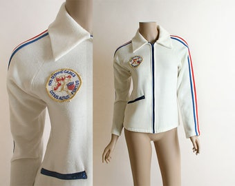 Vintage 1970s Jacket - 1976 OIympics Fleece White Jacket - Montreal Summer Olympics - Patch - Racing Stripes - Small