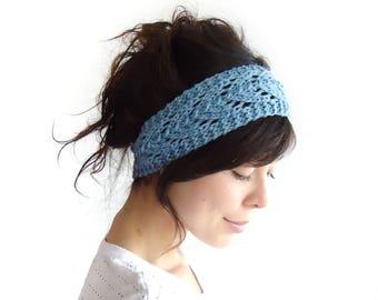READY TO SHIP Charcoal Lacy Knit Headband 100% Merino Wool