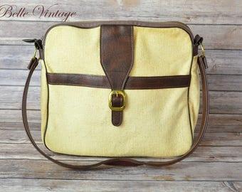 Linen & Leather Bag Vintage 70s Boho Shoulderbag