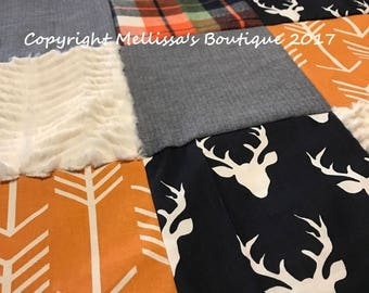 Rustic Plaid Deer Woodland Arrows Navy Blue Orange and Cream Plaid Baby Quilt Nursery Crib Bedding Set CHOOSE and CUSTOMIZE