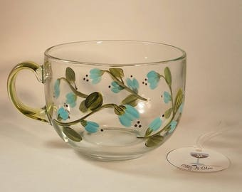 Blue Floral Hand Painted Glass Tea Cup