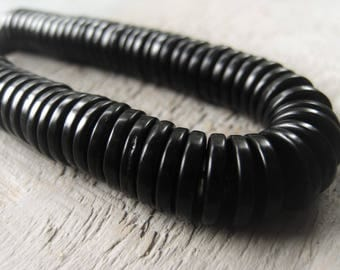 Black Coconut Wood Heishi Bead 6mm 8mm 10mm Heshi Spacer Mens Beads Unisex Beads Item No. 7054