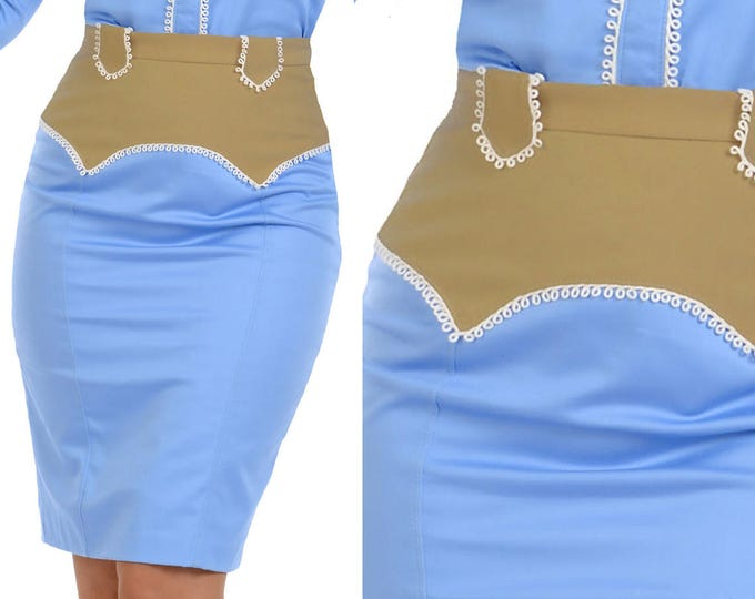 Ivy Western Skirt in Periwinkle Blue and Tan