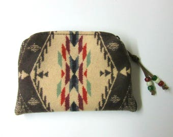 Wool Zippered Pouch Coin Purse Change Purse Accessory Organizer Cosmetic Bag Blanket Wool from Pendleton Oregon