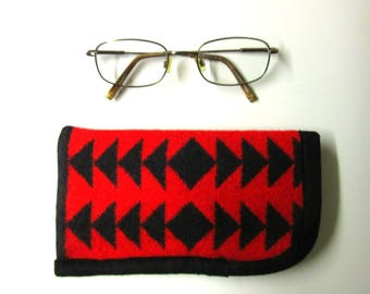 Eyeglasses Case Pouch Protection Sunglasses Flannel Lined Durable Native American Print Blanket Wool from Pendleton Oregon