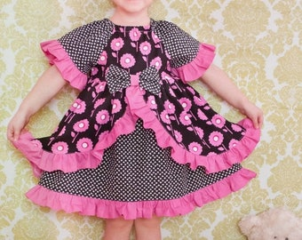 SALE Girls Ruffle Peasant Dress --Enchanted Dress --with half and 7/8 sleeves, over skirt and center bow 9m-12 girls Instant