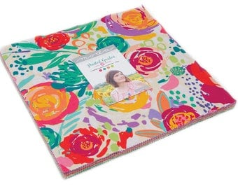 """Pre-Order Moda Painted Garden Precut Layer Cake 10"""" Fabric Quilting Cotton Squares Crystal Manning 11810LC"""