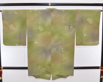 Sprays of Plum Blossom, Hand-Painted Look, Gradation Dyed, with Woven Pattern, Michiyuki, Hitokoshi Crepe Silk: Haori Kimono Jacket