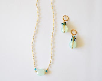 Blue Gemstone Jewelry Set/14k Gold Filled Wire Wrapped Earring and Necklace Set with Sea Foam Green and Various Colored Chalcedony Gemstones