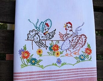 Chicken Tea Towel | Hens Kitchen Towel | Reproduction Embroidery | Country Decor | Orange White McLeod Towel | Chef Foodie Farmstyle Cook