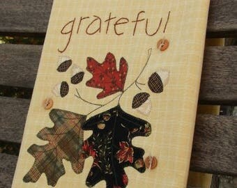 Thanksgiving Tea Towel | Grateful Kitchen Towel | Appliqued Acorns & Oak Leaves | Hand Embroidery | Thanksgiving Decor | Mustard Cream Towel