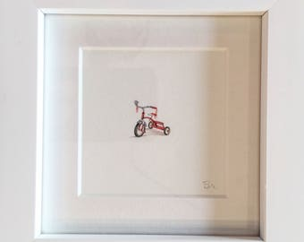 FRAMED Miniature Painting of a tricycle by Brooke Rothshank
