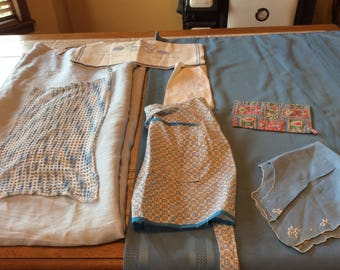 Vintage Linen Blue Bundle 8  Pieces 2 Tablecloths 1 Crochet Runner  2 Towels  1  Aprons 1 Bun Cover 1 Pot Holder - B123