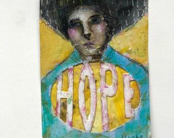 Hope, folk art figurative painting by Mystele