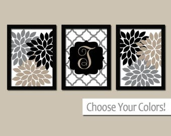 MONOGRAM Wall Art, Family Monogram, Flower Burst, Last Name Initial,  College Dorm