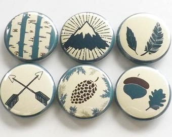 Outdoors Fridge Magnets rustic travel decor gift mountain arrows pinecone feather acorn tree nature adventure party favors button pins