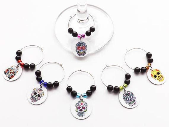 Sugar Skulls Wine Glass Charms Hostess Housewarming Gift day of the dead dia de los muertos drink markers party favor halloween goth wedding