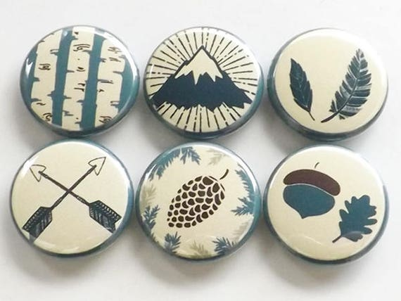 Outdoors Fridge Magnets rustic decor gift mountain arrows pinecone feather acorn tree nature adventure party favors button pins