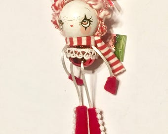 Candy Cane Tree Ornament Forest Decoration---Wooden Holiday Candycane Girl Bell Bottom