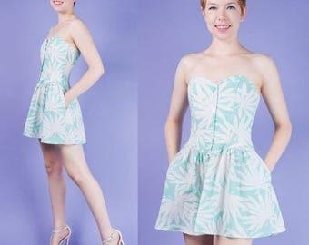 AQUA White Vtg 80s Strapless Mini Sweetheart Dress XS/S