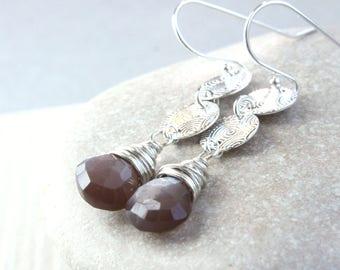 Brown Silver Moonstone   Earrings  Sterling  Silver June Birthstone Earrings Gemstone Jewelry Gifts For Her