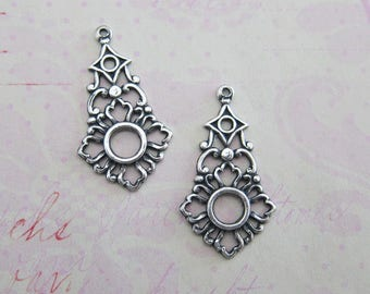 NEW 2 Silver Ornate Open Charms 3905