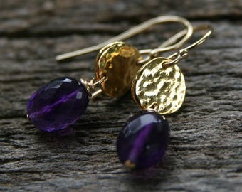 Gold amethyst earrings, ckb creations, purple earrings, purple gold earrings, purple drop earrings, gold filled earrings
