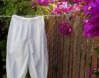 Ready now!  Girls Medium Basic Bloomers White Poly Cotton