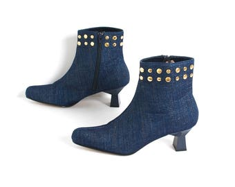 size 8.5 DENIM blue jean 80s 90s southwest HIP HOP ankle boots