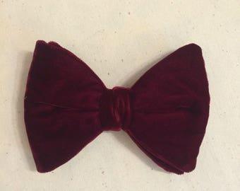 Mens Vintage 70s Big Large Red CRUSHED Velvet clip on Bow Tie Necktie Neck Tie wedding prom Tuxedo Tie Maroon