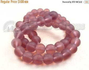 """40% Retirement Closeout - Lavender, Frosted Round,  Glass, 6mm, 15"""" Strand, 8S-LAFRR8-015-001"""