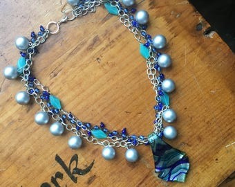 Multi-Strand Glass Necklace | Ocean Love