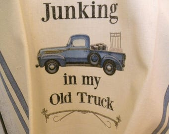 Junking Old blue truck towel Shabby Prairie Farmhouse cotton ECS RDT FVGteam