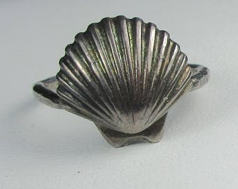 Sea Shell Ring,  Sterling Silver Seashell Ring, Oxidized Sterling Silver, US Size 6Ring, Beach Ring, Beach Jewelry by Maggie McMane Designs