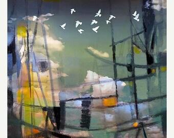 HUGE SUMMER SALE 40% off Le Port d'Amsterdam  Modern Abstract Landscape 8x8